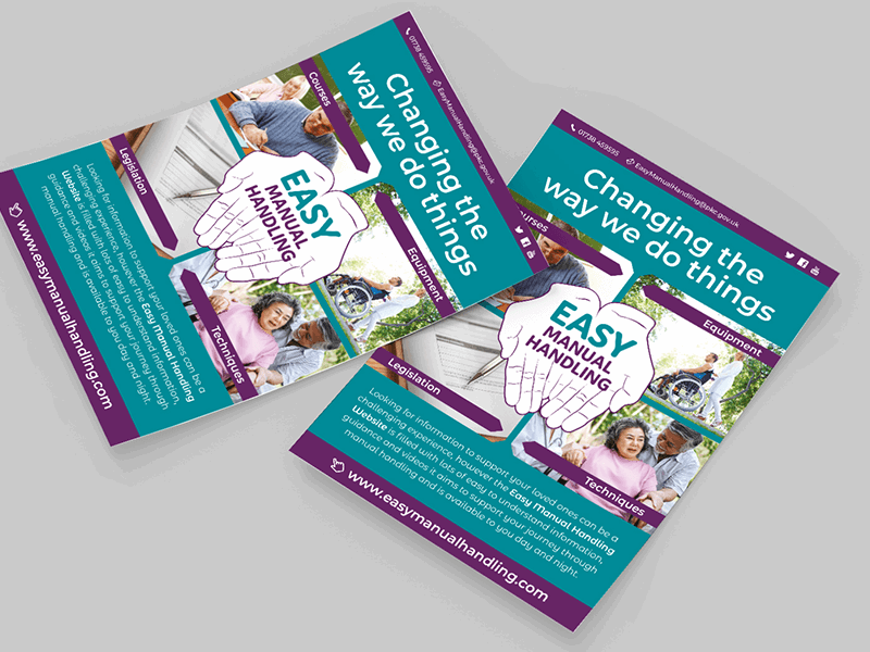 Image shows two piles of A5 flyers advertising Perth and Kinross Council's Learning and Development Team's Easy Manual Handling website