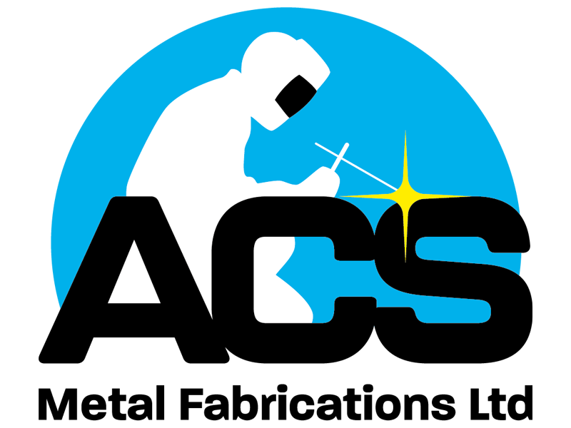 Image depicting a welder kneeling over and working on the company name ACS Metal Fabrications Ltd